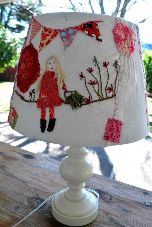 Fun idea to upcycle a lampshade with scraps and embroidery · Recycled Crafts | CraftGossip.com