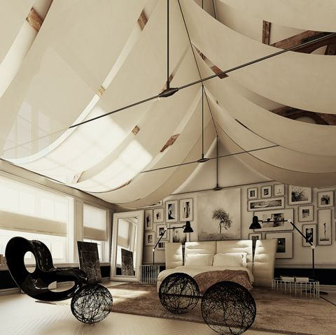 sails on the ceilingIdeas, Ceilings Treatments, Tents, Dreams, Interiors Design, Beds Room, High Ceilings, Bedrooms, Design Home
