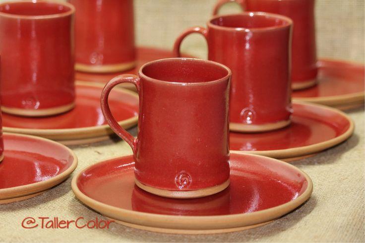 Juego café #TallerColor #rojo #gres #stoneware