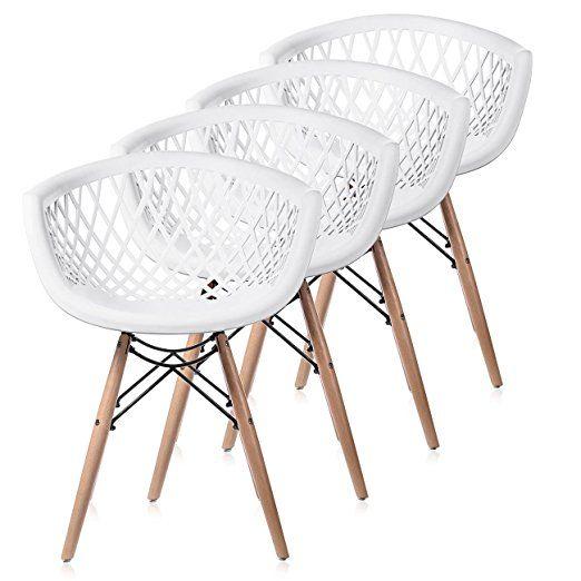 Makika Retro Stuhl Design Stuhl Esszimmerstühle Bürostuhl Wohnzimmerstühle  Lounge Küchenstuhl Sitzgruppe 4er Set Aus Kunststoff Mit