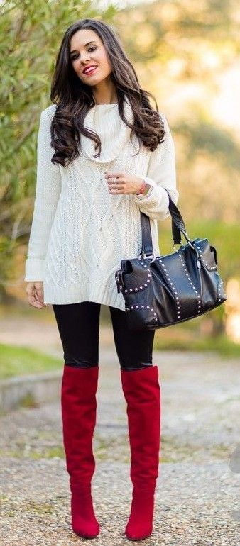 Amateur in red OTK boots and white sweater