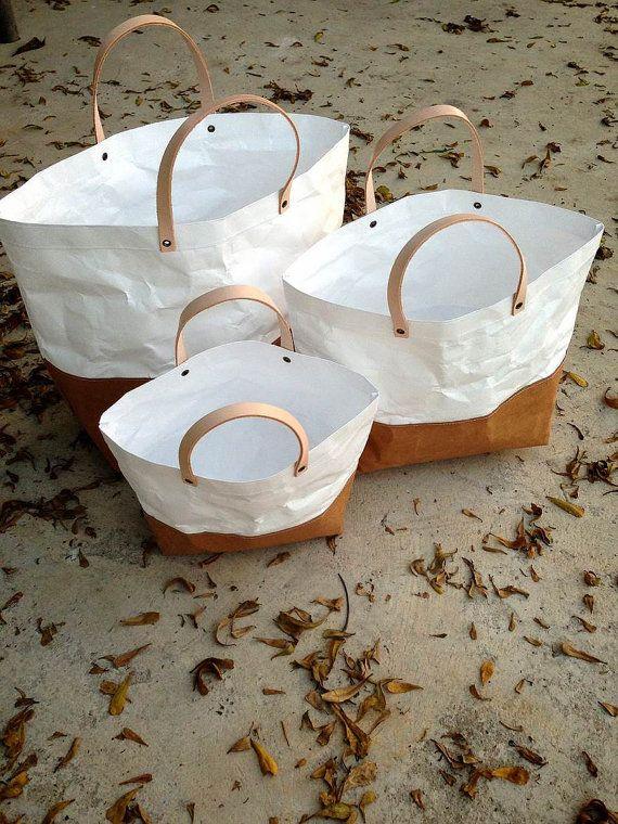 Two tone paper bag Kraft and Tyvek paper Set Tote by Belltastudio, $65.00