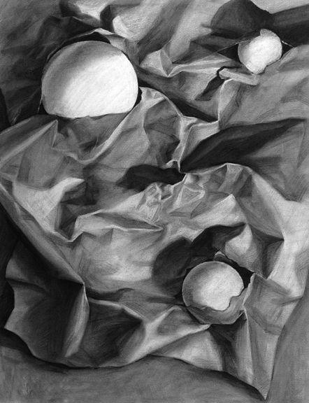 Brown paper and styrofoam balls plus spotlight.