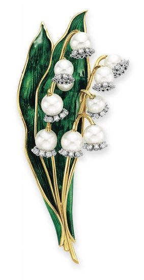 Designed as two stalks of cultured pearl and circular-cut diamond lily-of-the-valley, to the green enamel leaves and sculpted gold stems, mounted in 18k gold.