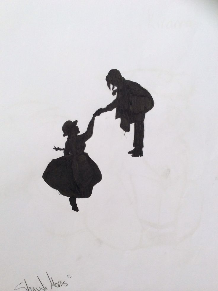 Silhouette Of Howl And Sophie Howls Moving Castle With