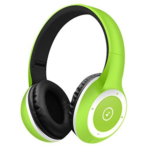 Larger Wireless Bluetooth Headphones,Sunfei Stereo Bluetooth Headphones Wireless Headset Foldable Gaming Headset Earphone V4.0 with Mic for Pc Mac SmartPhones (Mint Green)