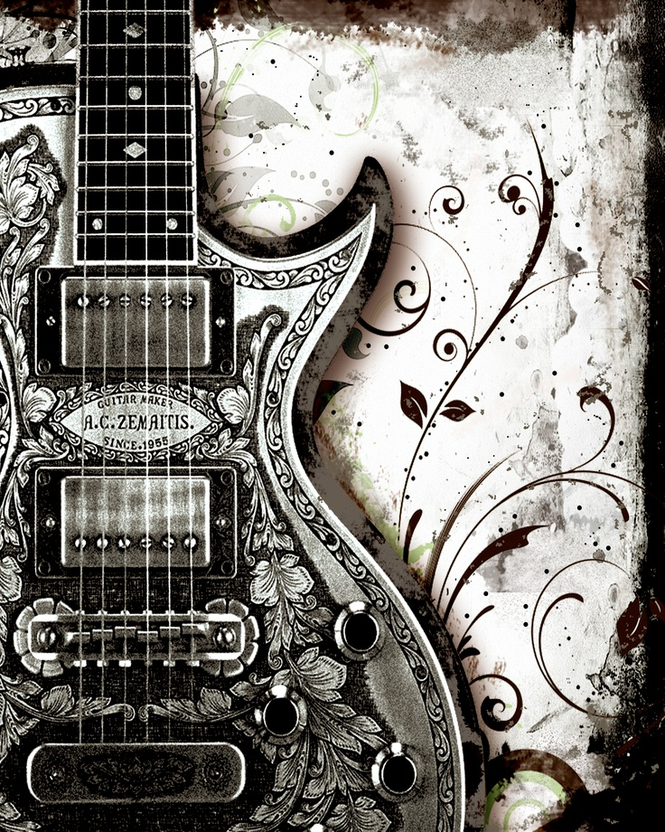 As musicians, we found this graphic art awesome. The guitar design and cut is interesting and unique. With hot pups like those, we'd love to shred it to pieces!