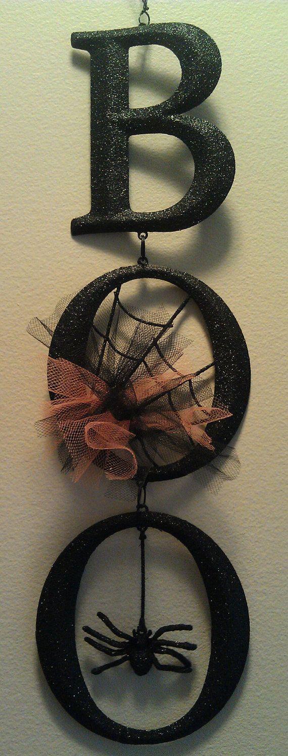 BOO  Halloween Sign/Decoration with Orange/Black by sharonshobbies, $12.00