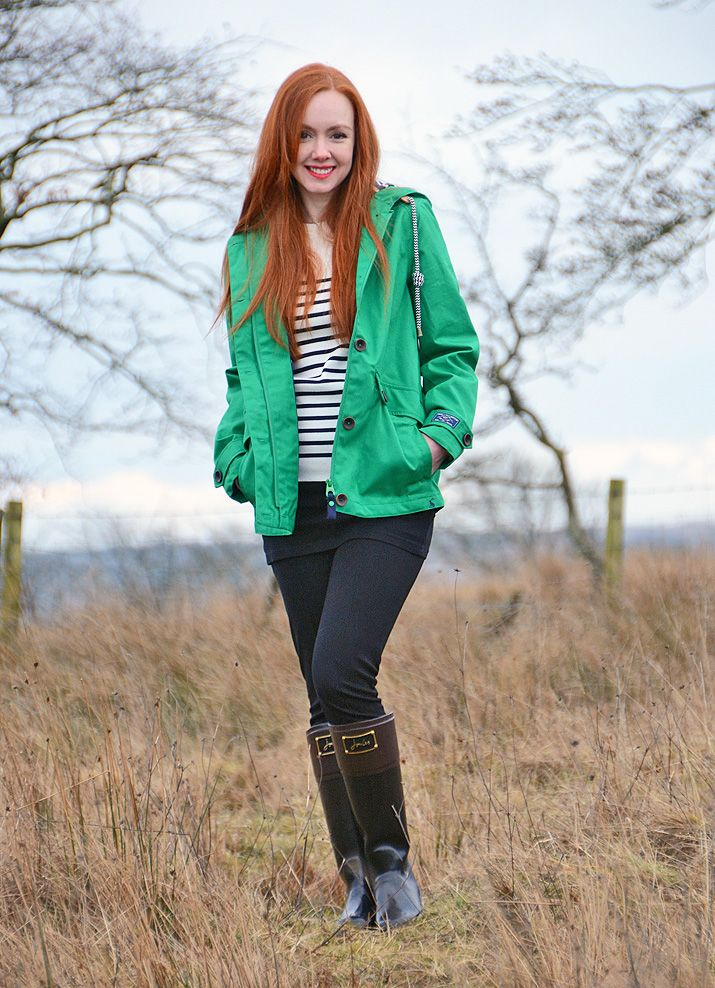 Green Joules raincoat and bow Evedon wellies as worn by Forever Amber.