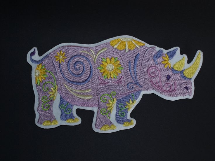 Flower Power Rhino Embroidered Sew on, Iron on, Glue On Patch Motif Accessory by woosbagsandcrafts on Etsy