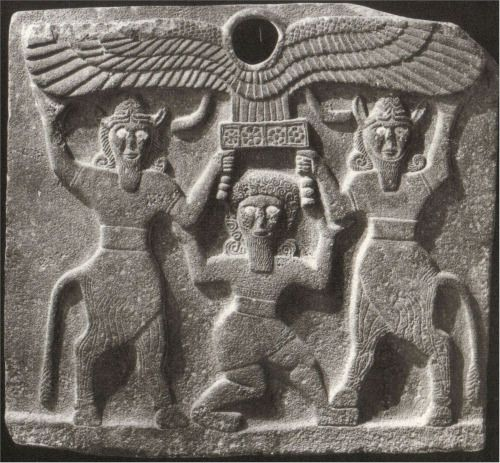 Gilgamesh Between Two Bull-Men Supporting a Winged Sun Disk, Tell-Halaf, Syria