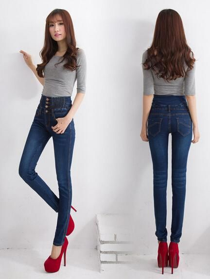 e515c5b356f Winter High Waist Jeans Women Denim Pants Plus Size Tight Stretch ...