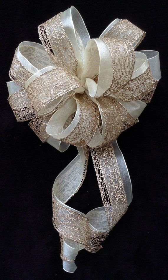 Gold Mesh & Ivory Bow  Wedding Bow  Gift Bow by BasketsFromAtoZ