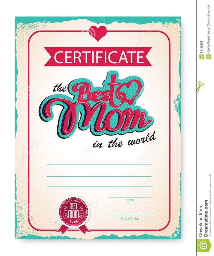 The Template Of The Certificate Diploma Congratulations For Mother's Day In Vintage Retro Style. Vector Illustration - Download From Over 43 Million High Quality Stock Photos, Images, Vectors. Sign up for FREE today. Image: 68190365