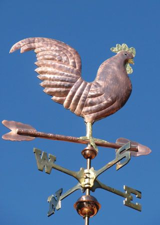 Traditional Rooster Weathervane - Handcrafted In Copper
