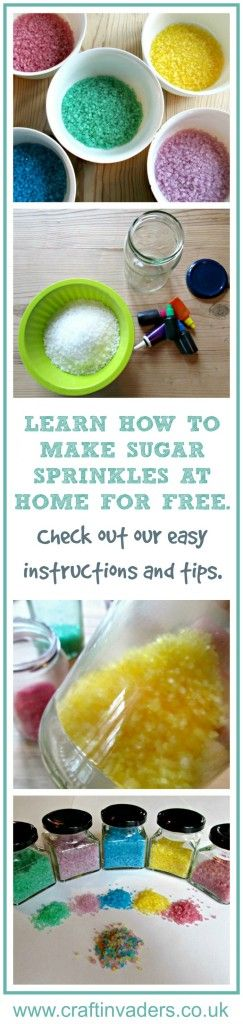 Learn how to make sugar sprinkles in a rainbow of colours using items from your…