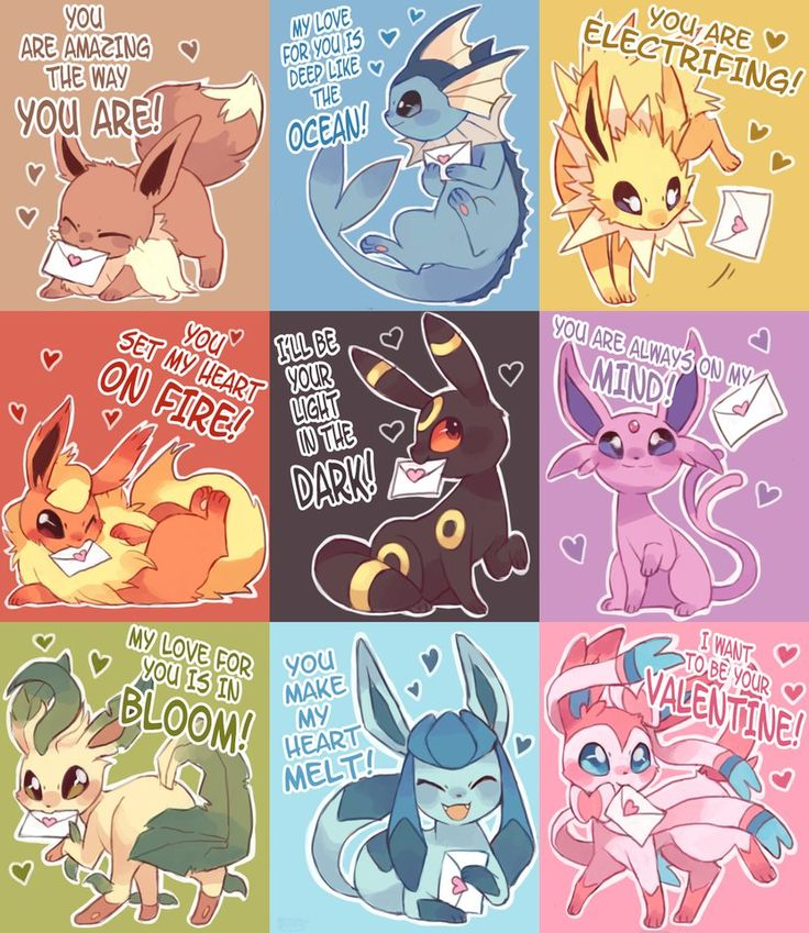 pokemon valentines, eevee, vaporeon, jolteon, flareon, umbreon, espeon, leafeon, glaceon, sylveon