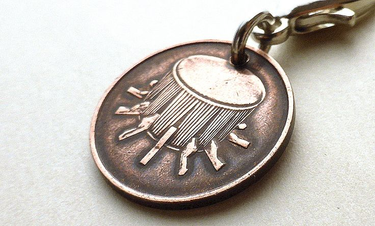 Malaysian zipper charm, Zipper pull, Drums, Tambourine, Percussion, Rebana Ubi drum, Asian, Oriental, Malay,  Accessory, Charms, Coins, 1999 by CoinStories on Etsy
