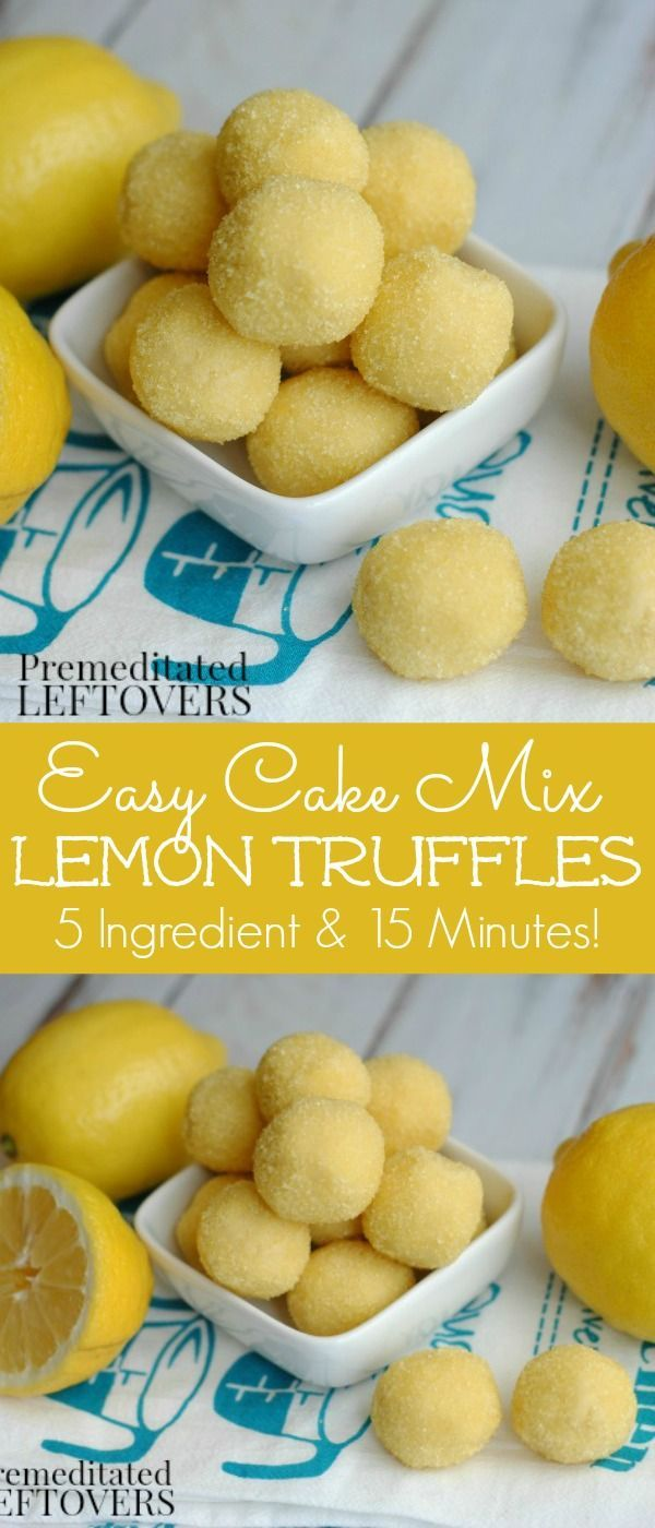 These quick and easy cake mix lemon truffles are absolutely delicious! This lemon truffle recipe only used 5 ingredients and takes 15 minutes to make. No baking required. It is an easy dessert recipe, but also makes a lovely hostess gift.