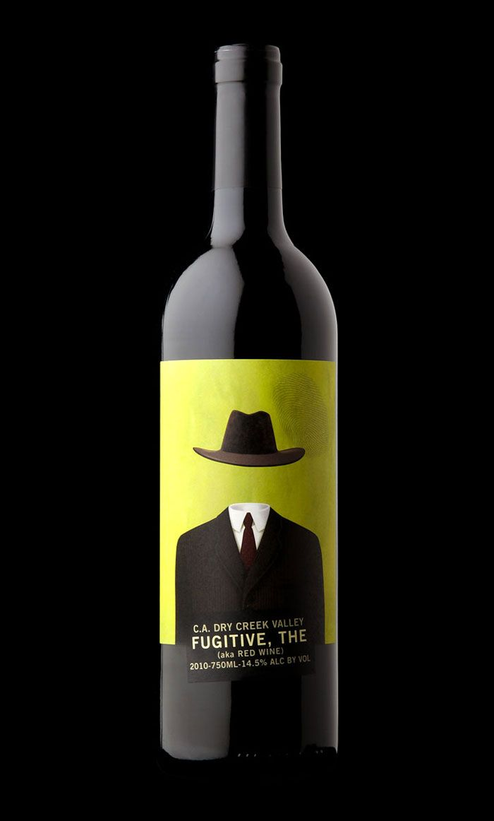 Love this wine bottle label design. The slight thumbprint and imagery matches the name great. Designed by Stranger and Stranger.