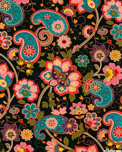 Belize - Bright Garden Paisley - Black