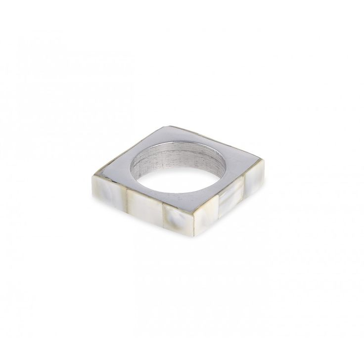 Ivy Napkin Ring. Polished metal and mother of pearl.