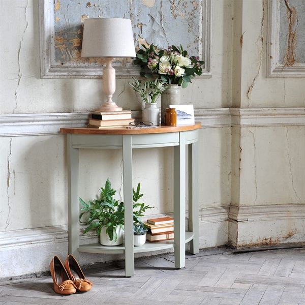 Caldecote French Grey Curved Console Table from The Cotswold Company £249. Country living, grey painted console table, painted, hallway furniture, country style, country hallway, cottage hallway.