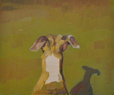 Rodgerson,Jenny Whippets head Oil on board Image Size: 25.5 x 30cm