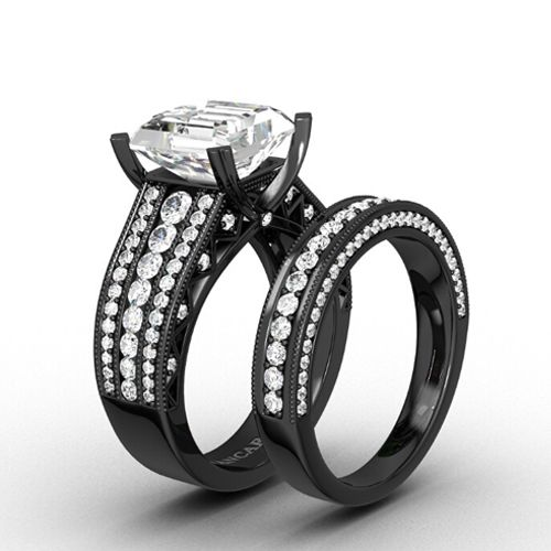 Cubic Zirconia With Asscher Cut Black Womenu0027s Wedding Ring Set With 925  Sterling Silver