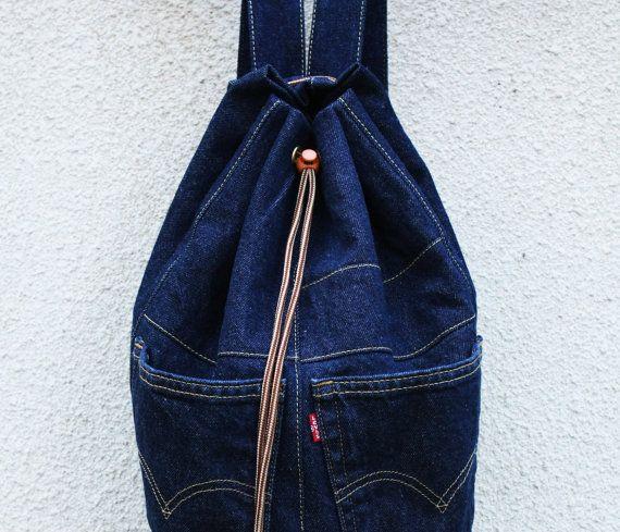 denim backpack upcycled jeans backpack big от UpcycledDenimShop