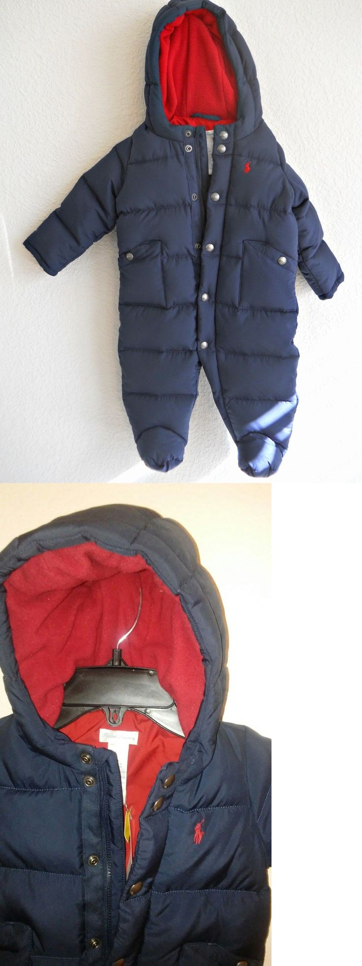 Baby Boys Clothing And Accessories: Baby Boy Size 6 Months Ralph Lauren Navy Down Hooded Puffer Snowsuit Bunting BUY IT NOW ONLY: $55.0