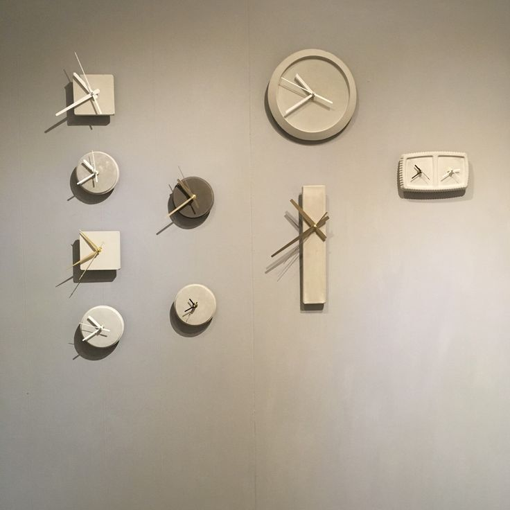 The wall of clocks at our showroom/workshop.