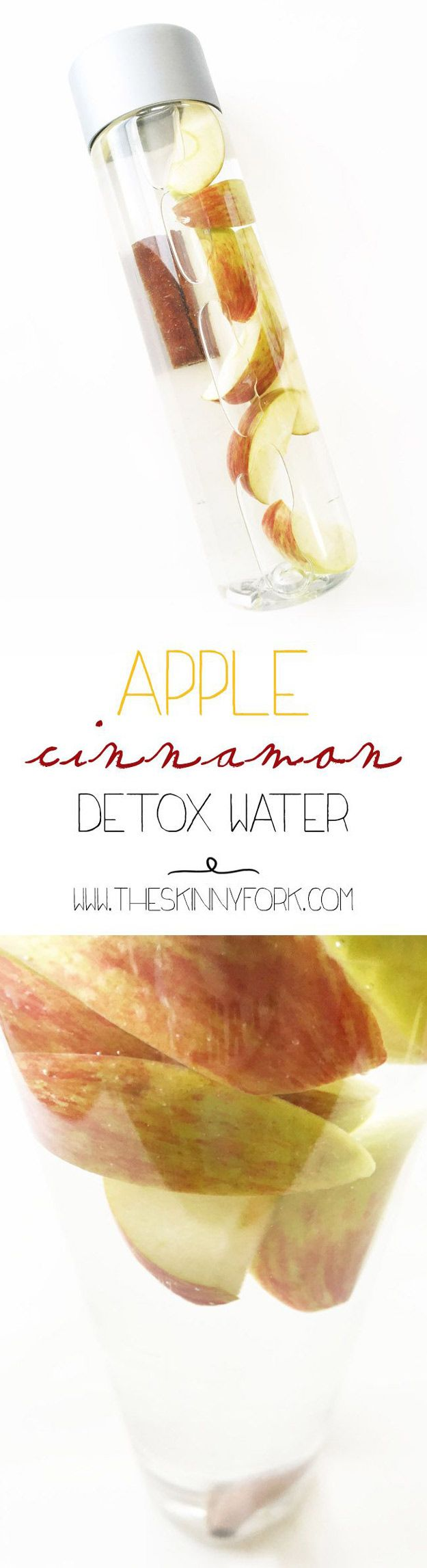 31 Detox Water Recipes for Drinks To Cleanse Skin and Body.  Easy to Make Waters and Tea Promote Health, Diet and Support Weightloss | Apple Cinnamon Detox Water  Recipe