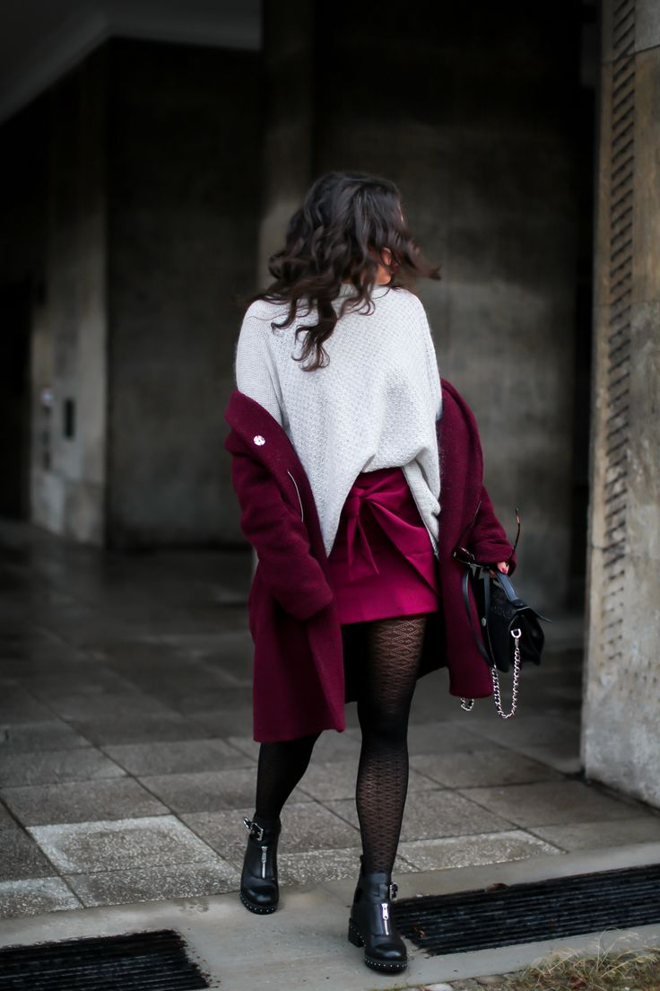 Wrap Skirt and Biker Boots | Burgundy Winter Look Wrap Skirt and Biker Boots | Burgundy Winter Look - red teddy coat jake*s burgundy wrap coat loavies sacha boots adax bag winter everyday style with skirt