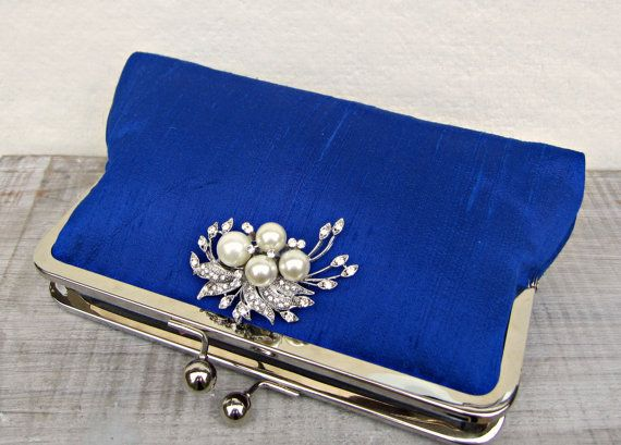 Royal blue clutch bag royal blue and pearl by ConstanceHandcrafted