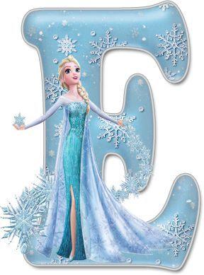 Alfabeto de Elsa con Vestido de Gala.