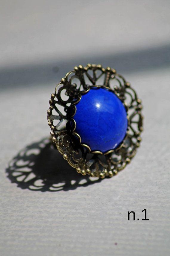 Anello vintage retrò regolabile con pietra di DIYGIOIELLIePIETRE, €8.00  Vintage ring with cabochon gemstone blue howlite