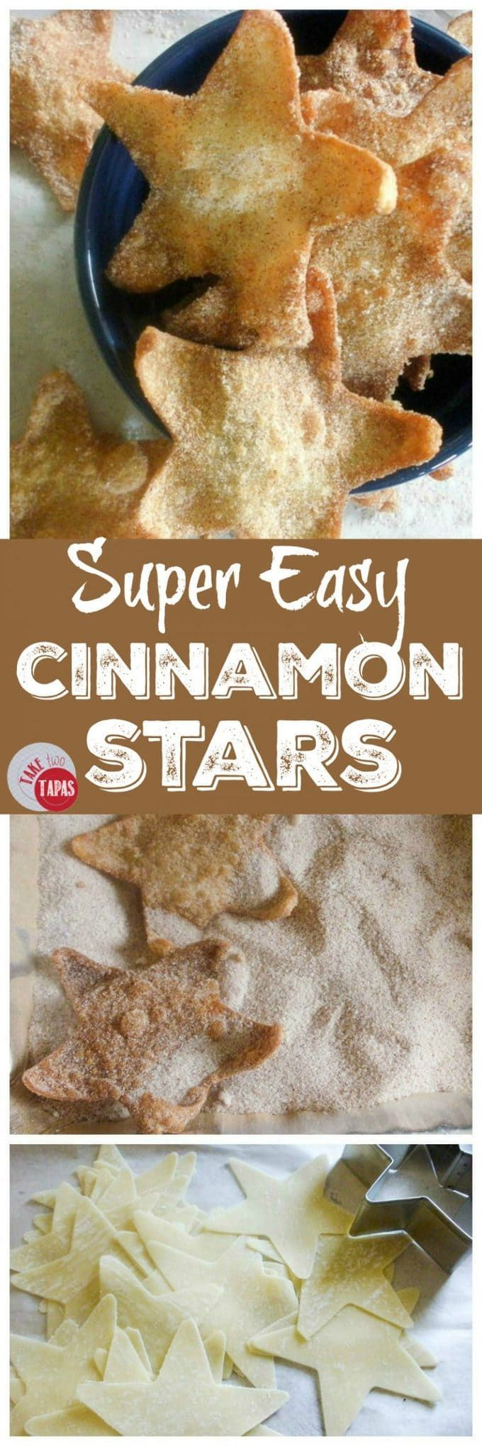 These super easy Cinnamon Stars are made from won ton wrappers and tossed in a cinnamon sugar mixture to add a touch of sweetness! Super Easy Cinnamon Stars Recipe | Take Two Tapas