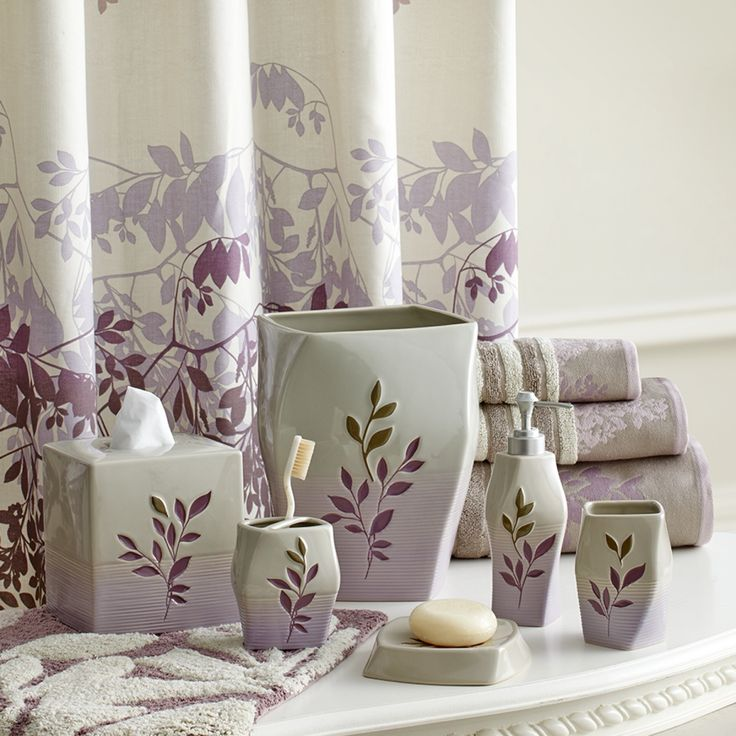 Transform Your Bathroom With The Wisteria Bath Collection By Croscill;  Featuring Wisteria Vines Climbing Beautiful Stoneware Accessories With An  Ombre Lilac ...