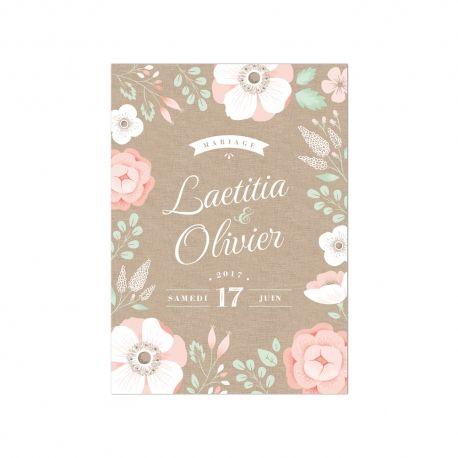 Faire-part mariage champêtre avec du lin, des anémones, des renoncules et du feuillage couleur mint.