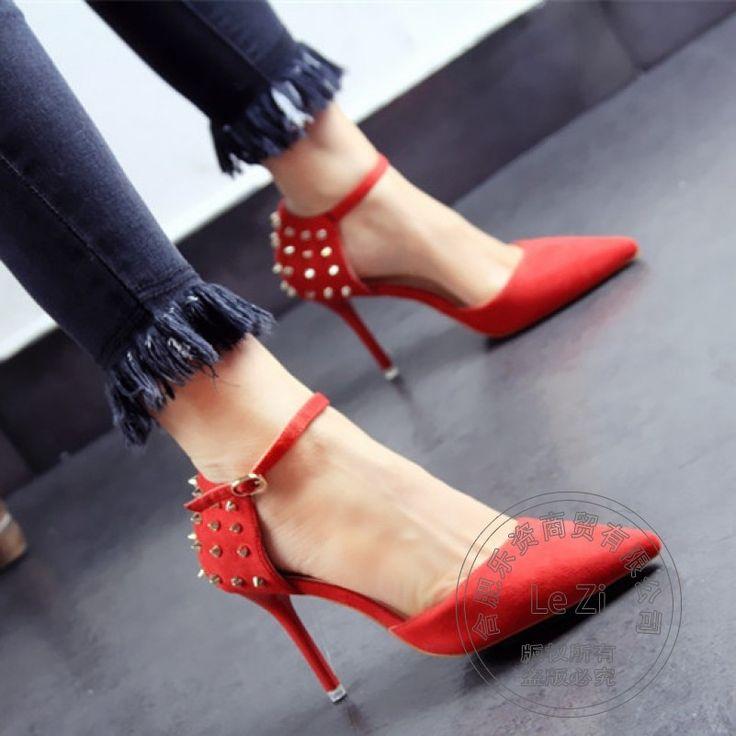 Weichem Leder Dünne High Heels Spikes Stiletto Heels Normal Pu Comfy Pumpe Wildleder Schuhe Stöckelschuhe Erweiterte Ankle Wrap //Price: $US $48.18 & FREE Shipping //     #abendkleider