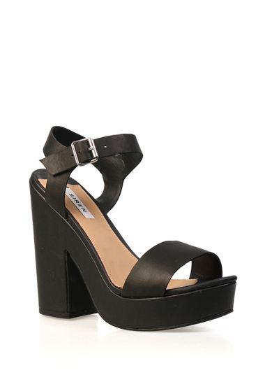 Siren Dora platform shoe in black, white and leopard print