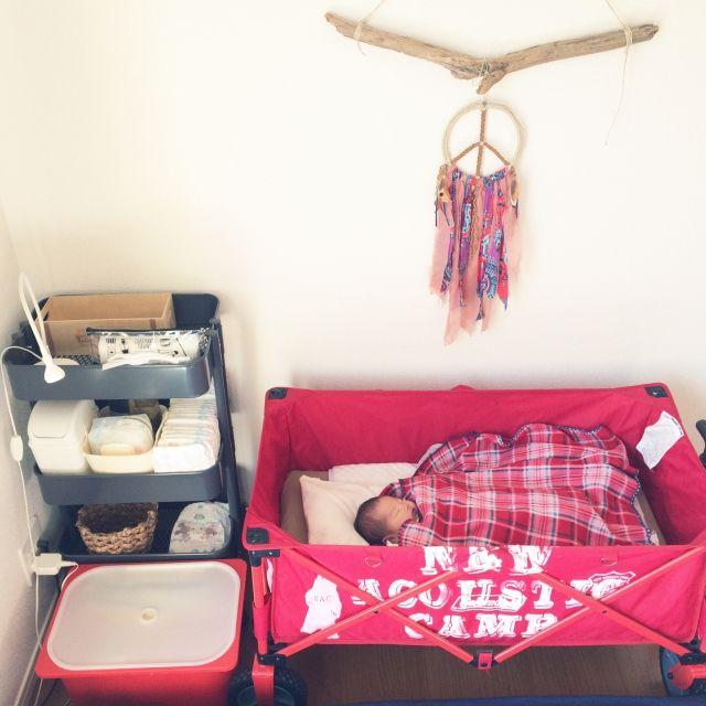 Ayakoさんの、ダイソー,IKEA,DIY,ハンドメイド,ベビーベッド,アウトドア用品,コールマン アウトドアワゴン,ベッド周り,のお部屋写真