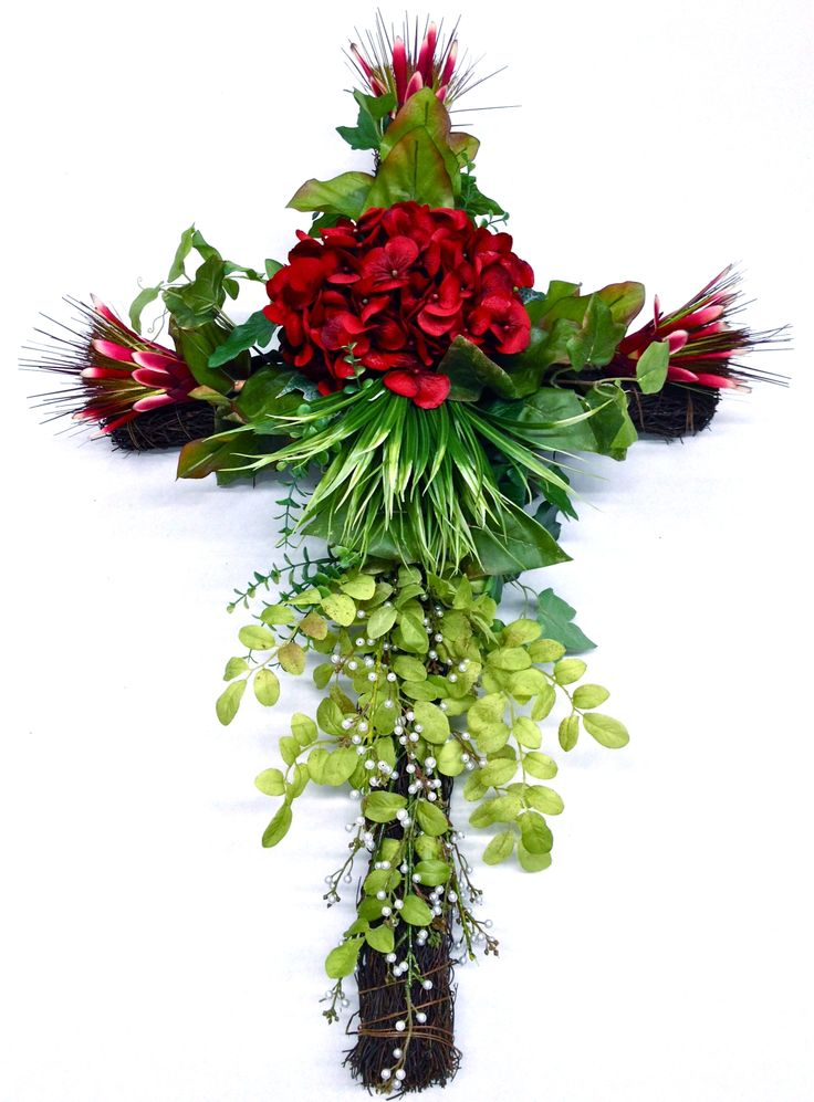 Spring 2014 Season Memorial Grape Vine Cross with Deep Red Hydrangea and Exotic Spray Protea and lush green grasses with pearl beaded branch. Design and Arrangement by http://nfmdesign.synthasite.com