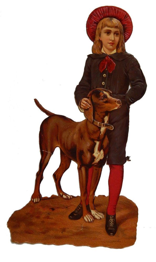 c1890 FULL Color embossed die cut card Victorian Boy with pet dog 6x11 inch: