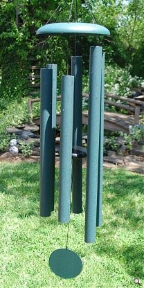 """The 55"""" Corinthian Bells wind chime uses thick aluminum pipes that are two inches in diameter.  It's tuned to G7"""