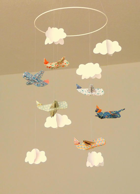Baby Mobile Origami Planes And Clouds Vintage Origami Mobile