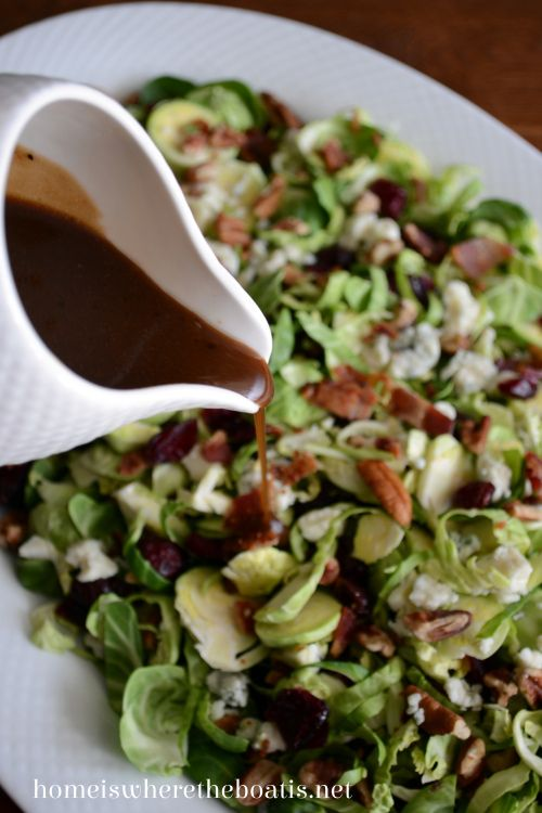 Shredded Brussels Sprouts Salad with Maple-Balsamic Vinaigrette