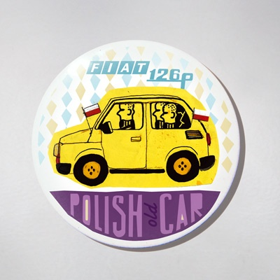 Fridge Magnet - Old Polish Car - Maluch. The colourful souvenir from Poland for your fridge or magnetic board. $10 zł.