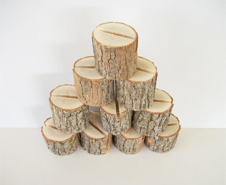 10 Sassafras Natural Wood Place Card Holder Rustic Wedding Table Decor Number